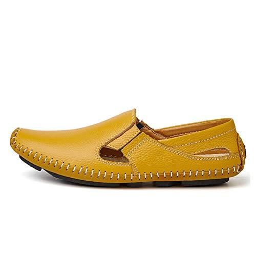 Respirables de Zapatos y para para Mocasines con de Zapatos Orificios nuevos on Confort Zapatos Huecos Holgados Sandalias Zapatos Casuales Slip Verano Conducir Hombres Cuero de rUUxnI4wqg
