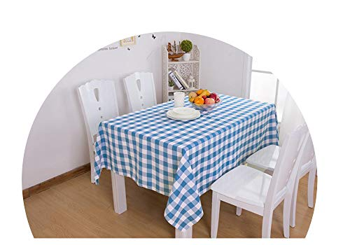 COOCOl Great Plaid Table Cloth Rectangular Tablecloth for Table Modern Home Decorative Dining Table Cover Picnic Cloth,Blue,Round 180Cm