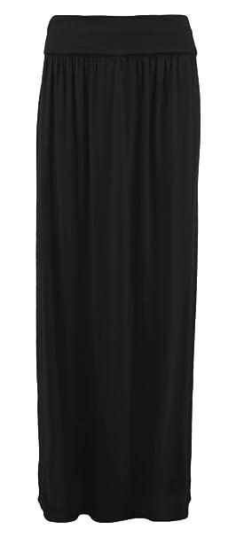 54080e113e7a Flirty Wardrobe - Damen Maxi Rock Überfaltbar Taille Lang Jersey ...