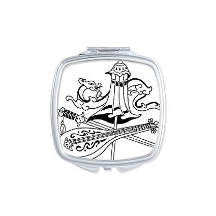 China chino paraguas espada dragón laúd chino cultura tradicional cuadrado de dibujo compacto Maquillaje espejo de