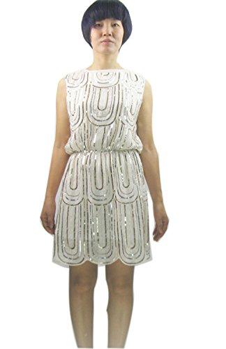 20s Attire (Sexy Roaring 20s Flapper Downton Abbey Gatsby Event Halloween Costume Dress White, White, Small)