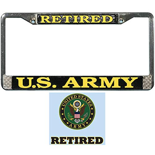 (Mitchell Proffitt US Army Retired License Plate Frame Bundle with US Army Retired Decal Sticker/Decal)