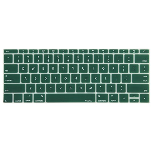 MOSISO Silicone Keyboard Cover Compatible MacBook Pro 13 Inch 2017 & 2016 Release A1708 Without Touch Bar, MacBook 12 Inch A1534 Protective Skin, Peacock Green