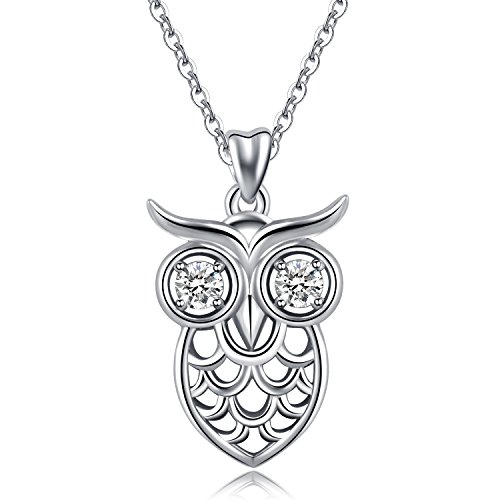 - AEONSLOVE 925 Sterling Silver Cute Animal Wise as Owls Pendant Necklace with Crystal Eyes, 18'' Rolo Chain