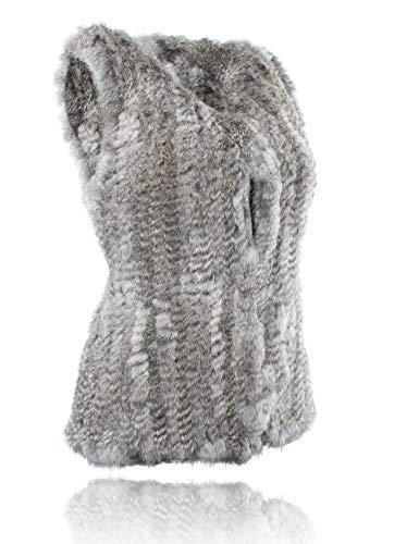 Coniglio Pelliccia Naturale Vest Heizzi Maglia Grey 100 Del Della TInqzw7