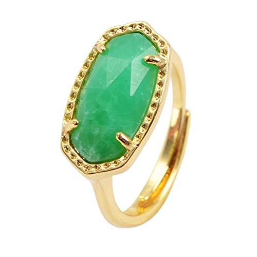 ZENGORI 1 Pcs Gold Plated Prong Setting Hexagon Natural Australian Jade Fashion Ring ZRG0101
