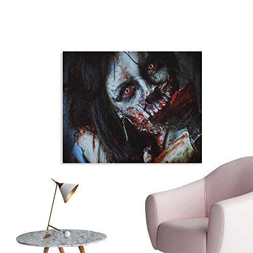 Anzhutwelve Zombie Wall Sticker Decals Scary Dead Woman with a Bloody Axe Evil Fantasy Gothic Mystery Halloween Picture Funny Poster Multicolor W28 -