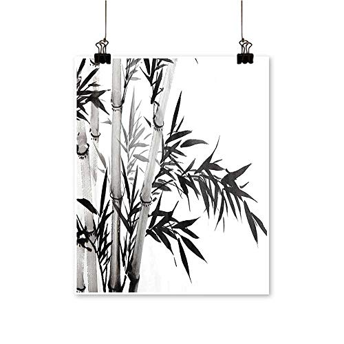 Modern Painting Bamboo Tree Illustration Traditional Chinese Calligraphy Style Asian Culture Charcoal Grey Bedroom Office Wall Art Home,16