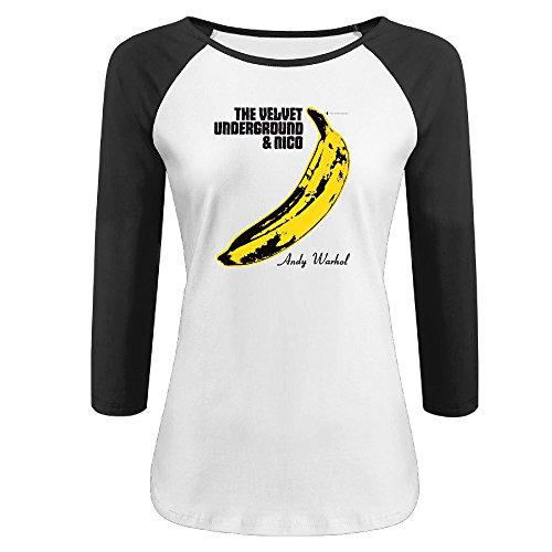 (JessieCoral Womens The Velvet Underground Distressed Banana Logo Raglan 3/4 Sleeve Baseball Tee )