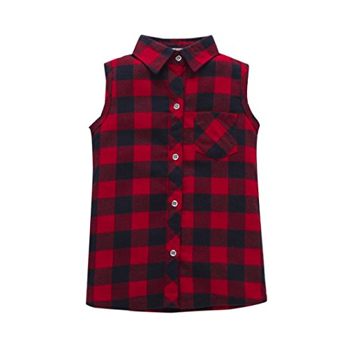 HOT SALE!!1-5 Years Old Girls Boys Outfit Clothes,Toddler Baby Sleeveless Plaid Blouse Shirt Tops (3T, Red) (Toddler Art Ideas For Halloween)