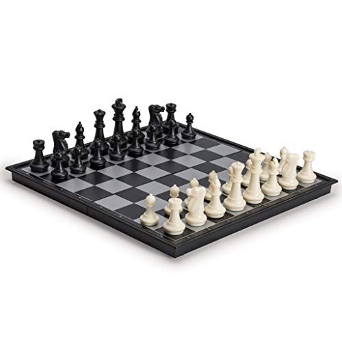 2 in 1 Travel Magnetic Chess and Checkers Game Set, 14 Inches by Yellow Mountain Imports