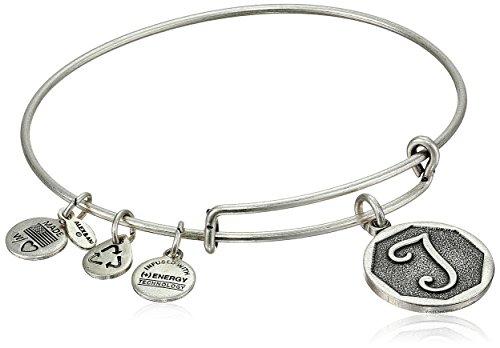 Alex And Ani Rafaelian Silver Tone Initial  T  Expandable Wire Bangle Bracelet  2 5