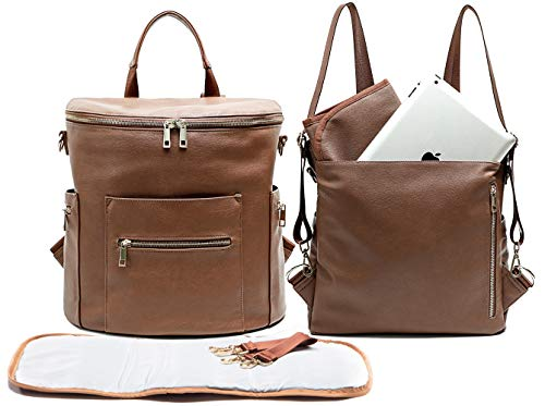 Leather Diaper Bag Backpack by MF Store, Diaper Backpack with Laptop Sleeve,Changing Pad,Wipes Pouch,Diaper Bag Organizer,Stroller Straps and Insulated Pockets (Brown)