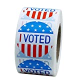 Hybsk I Voted with Red, White, and Blue Circle Stickers 1.5 Inch Round 500 Labels Per Roll