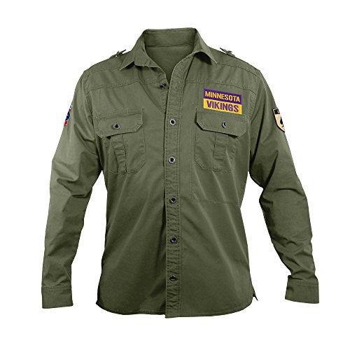 Littlearth NFL Minnesota Vikings Men's Military Field Shirt, Medium by Littlearth