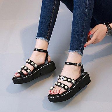 RUGAI-UE Moda de Verano Mujer sandalias casuales zapatos de tacones PU Confort,Negro,US8 / UE39 / UK6 / CN39 Black