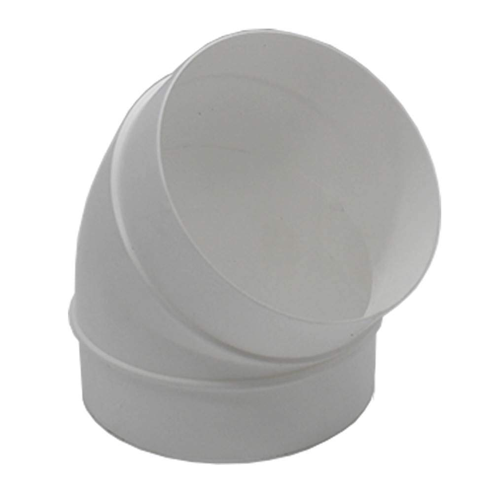 5 inch Round Plastic Ducting Joint to Connect Round Duct Pipe or Flexible Hose Kair 90 Degree Elbow Bend 125mm