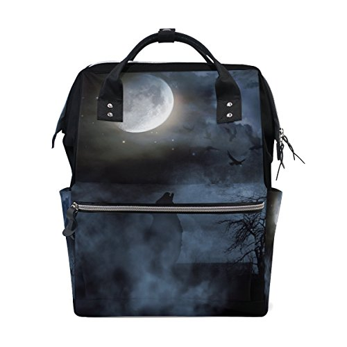 Backpack School Bag Halloween Night Moon Wolf Canvas Travel Doctor Style Daypack