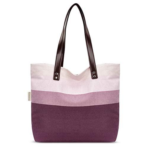 Exercise Compassion Plum 16 x 12.5 Inch Canvas & Leatherette Shoulder Tote Bag