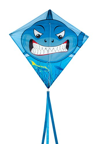 In the Breeze Shark 30 Inch Diamond Kite - Single Line - Includes Kite Line and Bag - Fun Printed Design ()