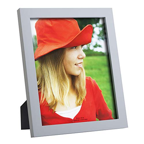 RPJC 8x10 Picture Frames Made of Solid Wood High Definition Glass for Table Top Display and Wall Mounting Photo Frame Silvery Grey