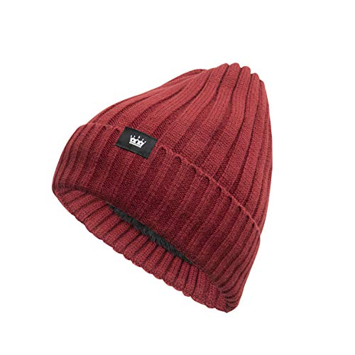 BOSOWOS Wool Cuffed Knit Beanie Hat Soft Hats for Men & Women Unisex Winter Hat Warm, Stretchy, Comfort Daily Beanie Hat Red