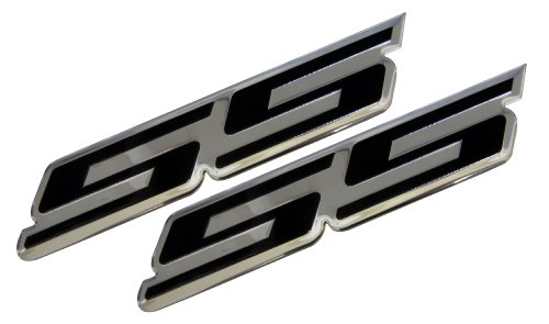 2 x (pair/set) SS Super Sport BLACK on Highly Polished Aluminum Silver Chrome Car Truck Engine Swap Badge Emblem for General Motors GM Chevrolet Chevy Camaro El Camino Monte Carlo Nova Impala HHR Cobalt Holden Commodore Ute 348ci 350HP 408HP