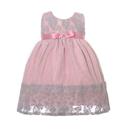 Rose Overlay Dress (NancyAugust Floral Lace Combination Color Mesh Overlay Fancy Infant Dress-Rose-XL)