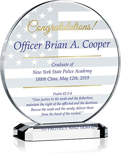 - Personalized Crystal Religious Police Officer Graduation Gift Plaque for Him, Customized with Graduate & Police Academy Name, Unique Law Enforcement Academy Graduation Gift for Son, Husband (L - 8