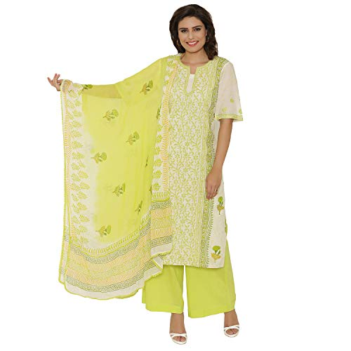 PinkShink White and Yellow Hand Embroidered Lucknowi Chikan Kurta Palazzo Dupatta Set (XL) d271xl