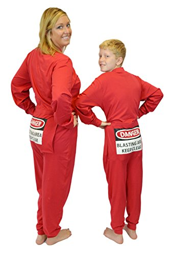 Red Union Suit Men & Women Onesie Pajamas with Funny Butt Flap Danger Blasting Area at Amazon Mens Clothing store: