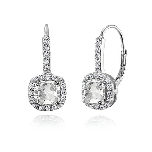 Sterling Silver Created White Sapphire Cushion-cut Leverback Earrings Cushion Cut Gemstone Leverback Earrings