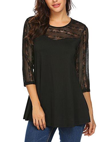 Finejo Women Fashion Boho Round Neck Lace Sleeve Blouse Top