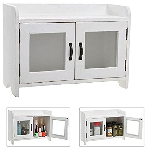 Decorative Shabby Chic White Wood Mini Kitchen Cupboard , Spice Cabinet - Close Damper Pull