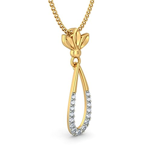18 K Or jaune 0,13 CT TW Round-cut-diamond (IJ | SI) Pendentif