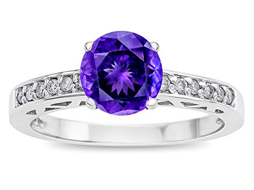 - Star K Round 7mm Genuine Amethyst Channel Set Engagement Promise Ring 10 kt White Gold Size 7