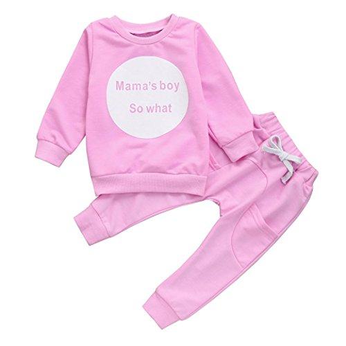 Tefamore Kleinkind Kinder Baby Girls Boys Outfit Kleidung Langarm T-Shirt Tops + Hosen 1Set Rosa