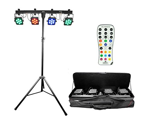 Chauvet 4Bar Tri USB 4x RGB Tri-Color Wash Light Pack w/Tripod + IRC-6 Remote by Chauvet