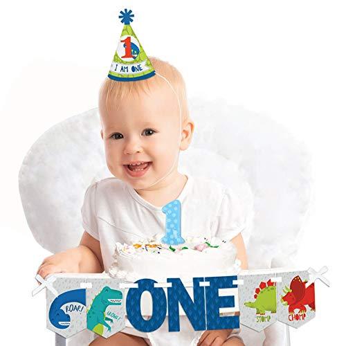 Big Dot of Happiness Roar Dinosaur 1st Birthday - First Birthday Boy Smash Cake Decorating Kit - High Chair Decorations