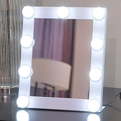 Cheap Stage Makeup (LED 9 Bulbs Vanity Lighted Hollywood Makeup Mirror with Dimmer Stage Smart Touch Screen desktop cosmetic Mirror &Two Power Supply Mode,Batteries not Included--Adjustable Brightness (White))