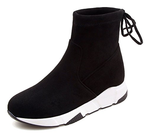 HiTime Ladies Athletic Pull On Wedges Sneakers Lace up Back High Top Ankle Boots Size 2-5.5 Black