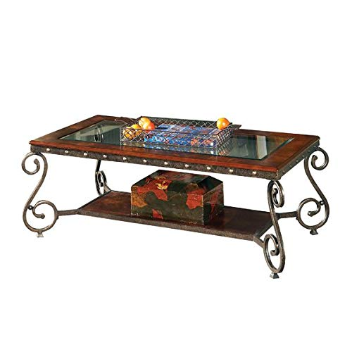 - Wood Coffee Table with Metal Base and Glass Top - Rectangular Coffee Table with Curved Legs - Mahogany