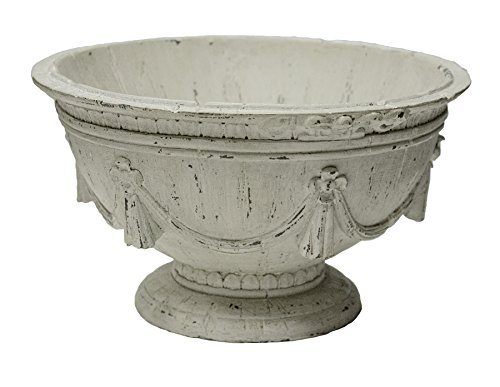 Sagebrook Home 11123 Grecian Footed Bowl, Antique White Polyresin, 12 x 12 x 6.75 Inches