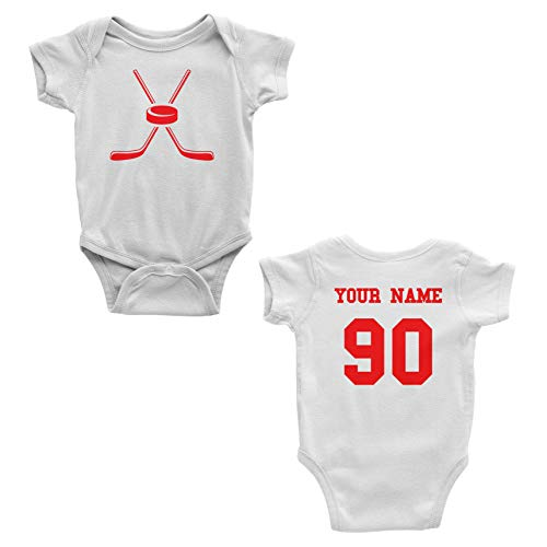 (Hockey Custom One Piece Bodysuit for Baby - Personalized Name and Number (6 Months, White))