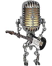 FuMeiJiaJiaJu Vintage mikrofon robot spela gitarr ornament lampa smidesjärn nattlampa