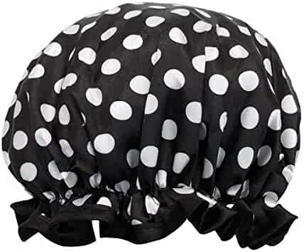 allydrew Wild Side Reusable Women's Waterproof Shower Caps for Long Hair, Black and White Dots
