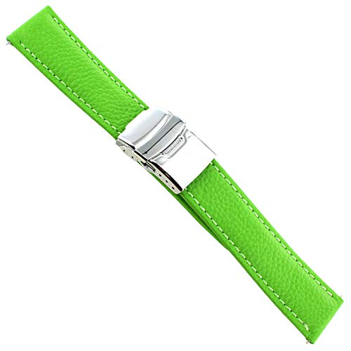 (20mm Milano Challange Green Padded Leather Adjustable Security Clasp Band 3608)