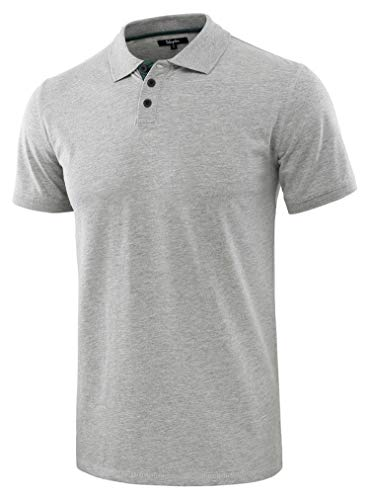 Estepoba Men's Casual Athletic Regular Fit Short Sleeve Jersey Polo Sport Shirt H.Gray/Dk.Green S