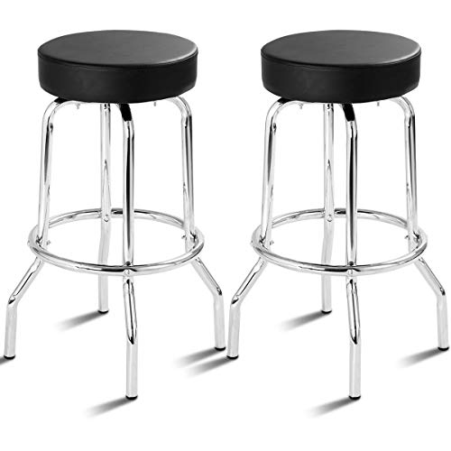 AK Energy Set of 2 Black Bar Stools Guest Visitor PU Leather Round Seat Backless Swivel Pub Kitchen Home Office Furniture
