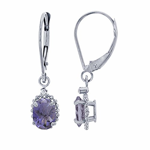 Green Earrings Iolite - 10K White Gold 1.25mm Round White Topaz & 6x4mm Oval Iolite Bead Frame Drop Leverback Earring